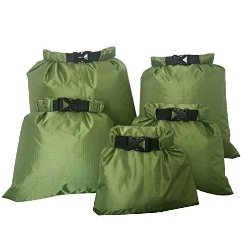 kuou 5 Stück wasserdichte Aufbewahrungsbeutel(1,5L+2,5L+3,5L+4,5L+6L), Dry Tasche wasserdichte Packsäcke für Camping Bootfahren Smartphone Kamera Aufbewahrungsbeutel für treibenden Wassersport,Grün