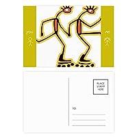 エジプトのフィギアローラースケートのパターン 友人のポストカードセットサンクスカード郵送側20個