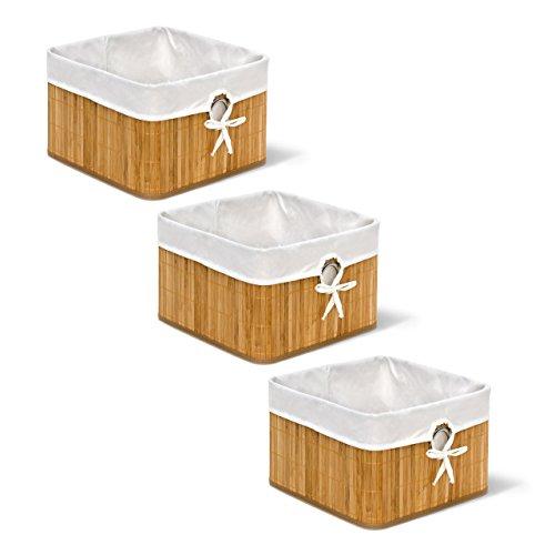 3 x Aufbewahrungskorb Natur im Set, aus Bambus, Faltbarer Regalkorb mit Stoffbezug, mit rundem Eingriff