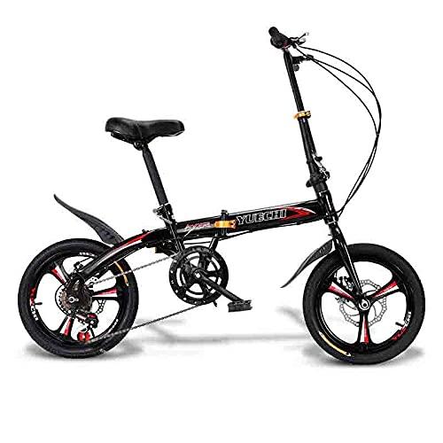 ZHCSYL Bicicletas Plegables para Adultos Y Qing, Cuerpo De 130 Cm, Frenos De Disco De Velocidad Variable, 6 Velocidades, 16 Neumáticos, Multicolor(Color:Rojo)