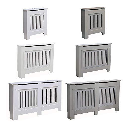 AVC Designs Kensington Radiator Cover Modern MDF Wood White Grey Vertical Slat Living Room Bedroom Hallway Cabinet (Small Grey)