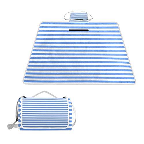 Bennigiry Picknickdecke, gestreift, Blau und Weiß, extra groß, faltbar und wasserdicht, für Familie, Camping, für den Strand, Wandern, Gras Reisen