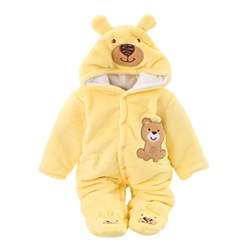 Mousmile Infant Baby Boys Girls Fleece Snowsuit Winter Warm Bunting Bear Pajamas for Newborn Cartoon Romper Hooded Jumpsuit (3-6 Months, Yellow)