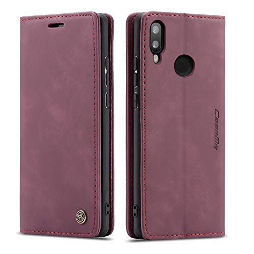 Bigcousin Funda Compatible con Huawei P Smart 2019/Honor 10 Lite,Funda Libro con Tapa Funda Móvil Magnética Carcasa,Vino Rojo