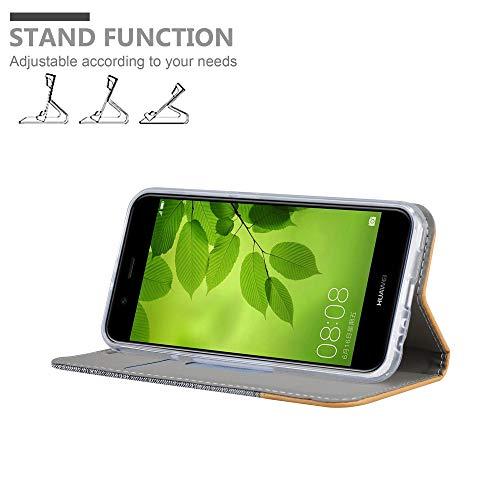 Cadorabo Hülle für Huawei NOVA 2 - Hülle in HELL GRAU BRAUN – Handyhülle mit Standfunktion und Kartenfach im Stoff Design - Case Cover Schutzhülle Etui Tasche Book - 2