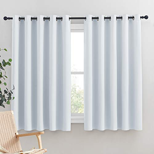 NICETOWN Room Darkening Draperies Curtains Panels, Window Treatment Thermal Insulated Grommet Room Darkening Curtains/Drapes for Bedroom (Greyish White, 2 Panels, 70 by 63)