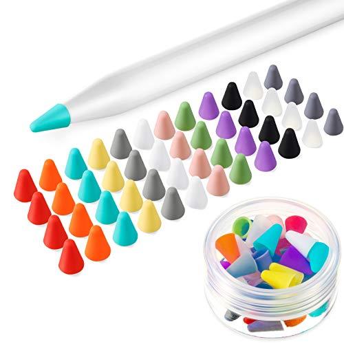 Weewooday 48 Stücke Silikon Schreibfeder Kappen, Bleistift Spitzen Sbdeckung rutschfeste Schutz Abdeckung Geräuschlose Zeichnung, 12 Farben