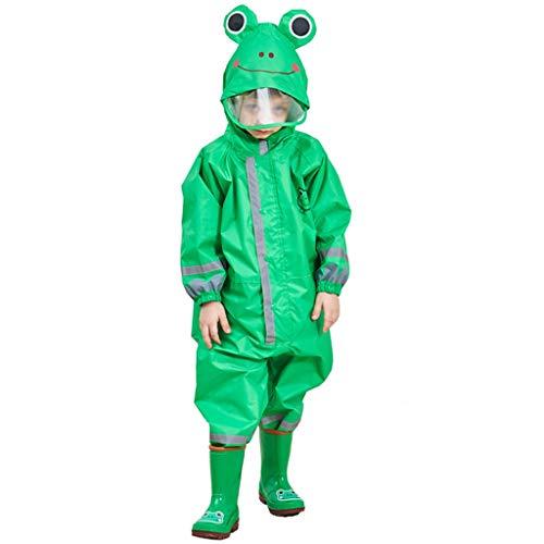 Majing Regenbekleidung- Einteiliger Atmungsaktiver Poncho Mit Kapuze Für Kinder, Jungen Und Mädchen Kindergarten 3-10 Jahre Regenmantel 100% Wasserdicht (Farbe: Grün) (Size : L)