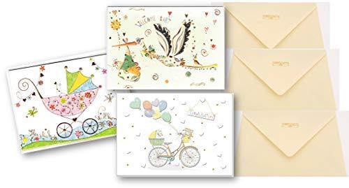 3 Glückwunschkarten zur Geburt - hochwertige Umschlag-Karten von Turnowsky, mit Klapperstorch, Kinderwagen und Baby-Fahrrad