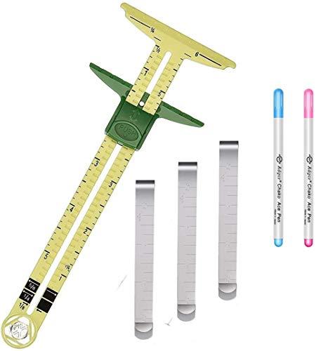 Herramienta de costura multifuncional en forma de T, 2 bolígrafos borrables, 3 alicates de acero inoxidable de 7,62 cm con regla de medición de clip, utilizado para coser colcha, bricolaje