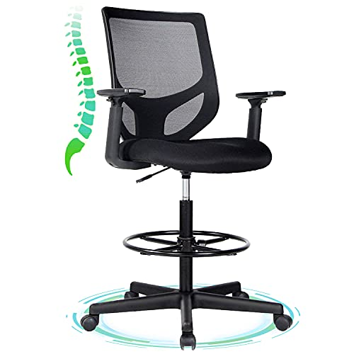 Drafting Chair, Tall Office Chair, Ergonomic Mesh Office Drafting Table Rolling Chair with Adjustable Armrests and Foot-Ring for Standing Desk