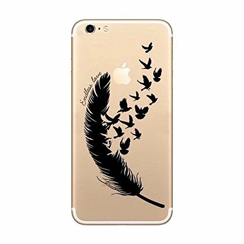 CrazyLemon iPhone 6 Hülle iPhone 6s Hülle 4,7 Zoll, Weich TPU Silikon iPhone 6s 6 Transparent Schutzhülle für iPhone 6 6s Abdeckung Etui - Feder und Vogel
