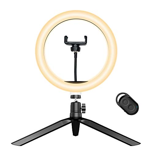 Arvnka Selfie Ring Light with Tripod Stand& Phone Holders& Remote,Dimmable LED Ringlight with 3 Light Modes and 10 Brightness, for Photography/Video