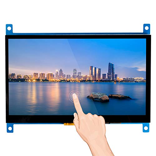 SunFounder Raspberry Pi 4 Display Capacitive Touch Screen 7 Inch HDMI 1024×600 USB IPS LCD Screen Display Monitor for Raspberry Pi 4 3 Model B, 2 Model B, and 1 Model B+, Windows