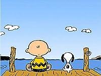 油絵 Snoopy スヌーピー アートパネル ポスター 印刷の絵 現代 リビングの装飾用絵画 おしゃれ モダン インテリア 壁掛け絵画 部屋飾り 壁掛け 壁飾り 飾り絵 壁アート 贈り物30x40cm (フレーム付き)