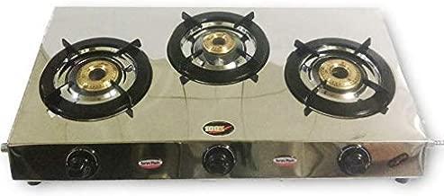 Stainless Steel Three 3 Brass Burner Gas Stove COOKTOP LPG Simple