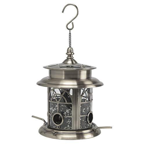Sun-Ray 811016 Arch Inlay Solar Lighted Bird Feeder Hanging Lantern - Silver/Pewter