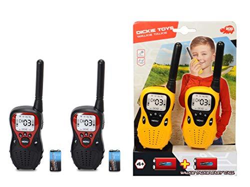 Dickie Toys Walkie Talkie Easy Call, Funkgerät, Reichweite bis 80 m, flexible Antenne, inkl. Batterien, 2-fach sortiert, gelb/schwarz oder schwarz/rot