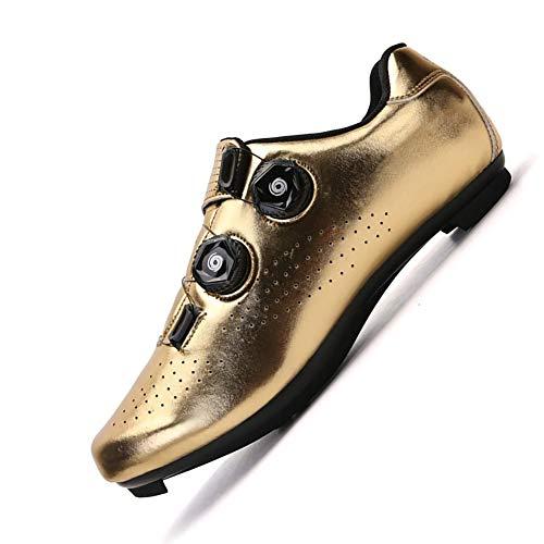 KUXUAN Calzado de Ciclismo para Hombre - Calzado Antideslizante para Bicicleta, Calzado Adecuado para Ciclismo de Carretera,Golden-5UK=40EU
