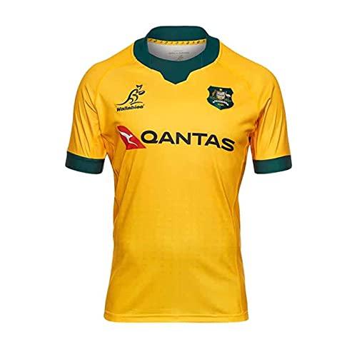 Rugby-Trikot 2021 Australien Heim- und Auswärtstrikots Weste Trainingsuniformen T-Shirts Freizeitkleidung Sportbekleidung für Herren Damen,Yellow,S