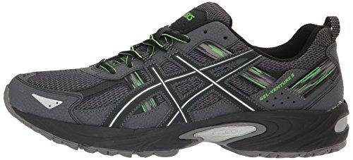 ASICS Men's Gel-Venture 5 Trail Runner, Carbon/Silver/Green Gecko, 8 M US