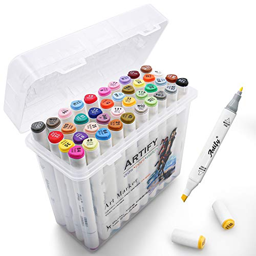 Artify Artist Alcohol Based Art Marker Set, 40 Colors Dual Tipped Twin Marker Pens with Plastic Carrying Case