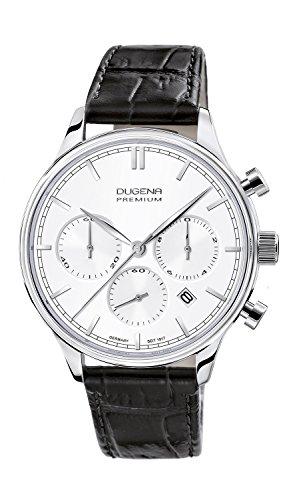 Dugena Herren-Armbanduhr Sigma Chronograph - Traditional Classic Analog Quarz Leder 7000200