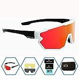 GIEADUN Sports Sunglasses Protection Cycling Glasses Polarized UV400 for Cycling, Baseball,Fishing, Ski Running,Golf (White Black)