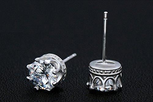 Secreto del invierno 18K Fashion chapado en plata corona forma diamante acentuado con amante Stud Pendientes