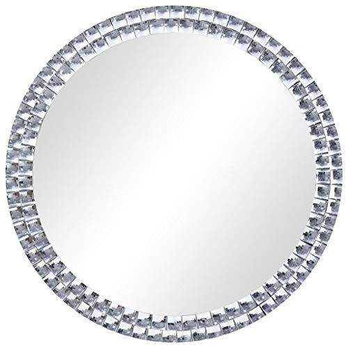 vidaXL Wandspiegel Badspiegel Badezimmerspiegel Dekospiegel Spiegel Frisierspiegel Flurspiegel Badezimmer Wohnzimmer Rund Silbern 60cm Hartglas