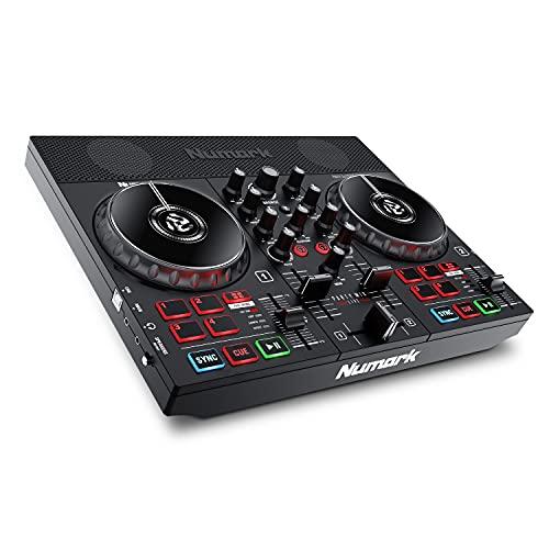Numark Party Mix Live - Contrôleur DJ avec jeux de lumière LED, enceintes et table de mixage DJ pour Serato DJ Lite et Algoriddim djay Pro AI