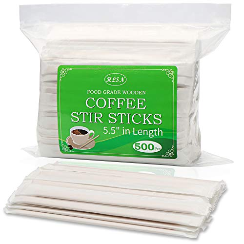 HLSN Disposable Paper Wrapped Wooden Coffee Tea Beverage Stir sticks,5.5 Inches 500PC Natural Birch Degradable Food Grade Certification