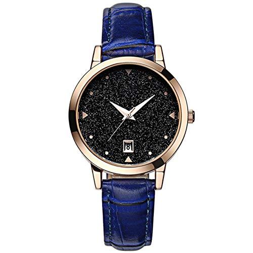 QHG Relojes para Mujer Banda de Cuero Impermeable Mujeres Girls Ladies Cuarzo Relojes de Pulsera Moda Reloj de Vestir de Mujer Dama Starry Sky Reloj Reloj Movimiento de Cuarzo (Color : D)