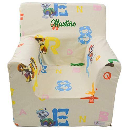 Borda y más Sillón o Asiento Infantil Personalizado de Espuma para bebés y niños. Varios Modelos y Colores Disponibles. (Patrulla Canina)