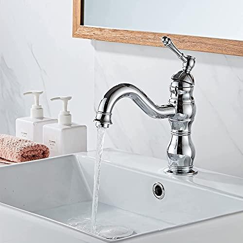 kisimixer Grifo de lavabo, Grifo de Cuenca Monomando Rotación de 360 °, Grifo de agua fría y caliente for lavabo de bañ, Grifo mezclador para el baño, Grifo de Lavabo para Baño de Latón, Cromado