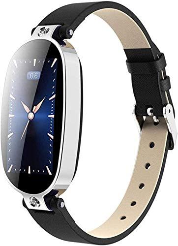 Smart Watch Pulsera inteligente Fitness Tracker Recordatorio de la presión arterial, pantalla de color de la salud impermeable Bluetooth reloj para mujeres-azul plateado y negro