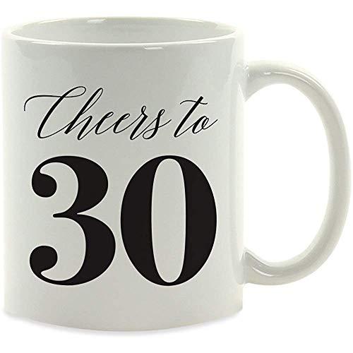 Milestone Birthday Coffee Mug Gift, Cheers to 30, 1-Pack, 30