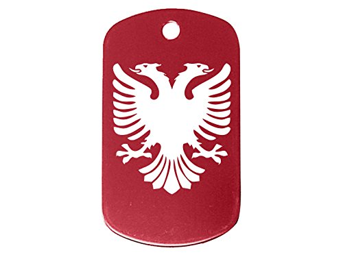 NDZ Performance Red Dog Tag Only No Chain Albanian Double Headed Eagle Crest