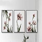 YSNMM Breve Decoración De Flores De Tulipán Pintura Pintura En Aerosol Pintura sobre Lienzo Sin Marco 3 Piezas