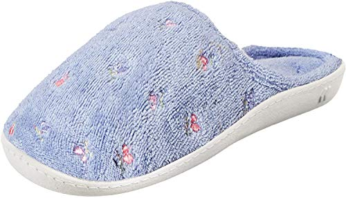 isotoner Women's Classic Terry Clog Slippers Slip on, Periwinkle, 5.5-6