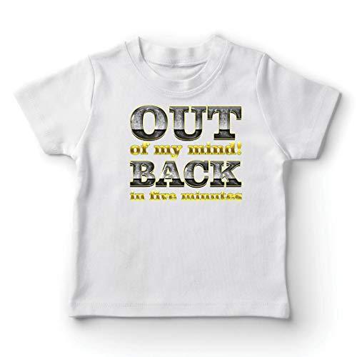 lepni.me Camiseta para Niño/Niña Fuera de mi Mente! Vuelvo en Cinco Minutos. Cita Graciosa (7-8 Years Blanco Multicolor)