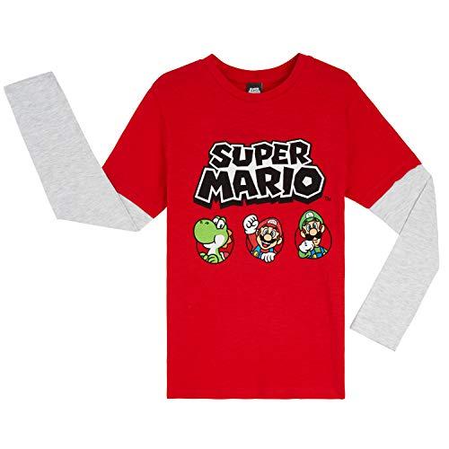 Super Mario Camiseta Niño, Camisetas de Manga Larga Azul y Roja con Mario Bros, Ropa para Niño de Algodon, Regalos para Niños y Adolescentes 3-13 Años (3-4 años, Rojo/Gris)