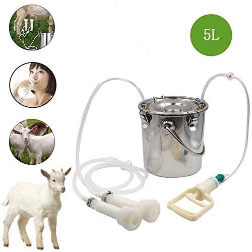 WHR-HARP Breast Pump Piston Cow Sheep Ordeñadora, Máquina de Ordeño de Cabra Portátil de 5L Minitype Oveja Vaca Doble Cabeza Ordeñadora(para Vaca),Cattle
