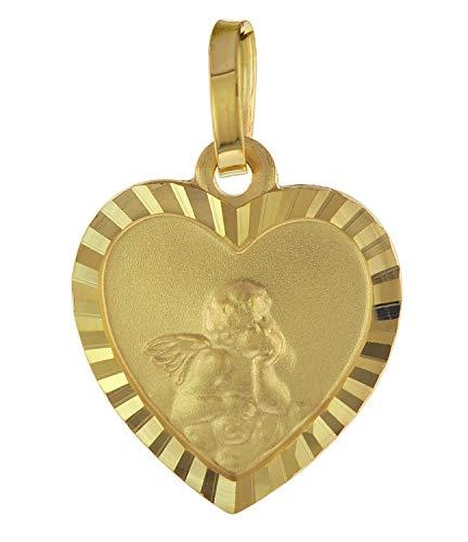 trendor Ketten-Anhänger für Kinder Herz mit Engel Gold 585 / 14K liebevoller Goldanhänger für Mädchen oder Jungen, Engelanhänger für Kids, Goldschmuck 75537