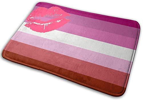 HUAZAI Lipstick Lesbian Pride Flag Non-Slip Doormat Bath Floor Mat Rug Bathroom Rug Carpet Welcome Indoor Door Mats Treated Monogram Doormat, Shoe Rugs Carpet, Floor Mat
