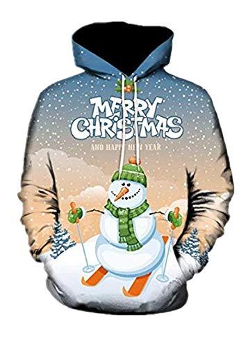 TEBAISE Weihnachtspullover Herren Santamuster 3D Drucken Weihnachten Kapuzenpullover 2019 Herbst Winter Männer GroßE GrößEn Christmas Drawstring Kapuzenpulli Hoodie Jumper mit Kapuze und Taschen 5XL