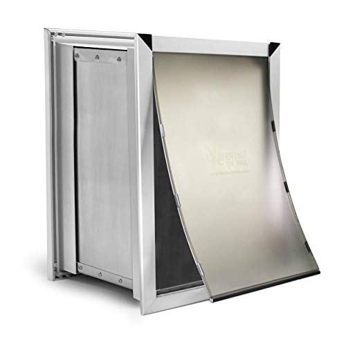 Extreme Dog Door Pure Aluminum Extra Large Dog Door for Wall, XL Pet Door for Wall with Sliding Lockout Panel, Expanding Box Tunnels, and Easy to Install Metal Frame for Big Dog Breeds and Cats