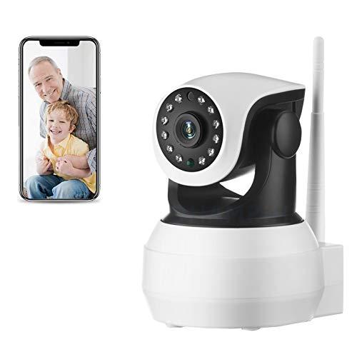 Cámara de seguridad WiFi interiores,Cámara de vigilancia IP CCTV PTZ 1080P HD,visión nocturna,detección de movimiento,control remoto,Voz bidireccional,Alarma,Bebé Pet monitor(Cámara+tarjeta TF de 32G)