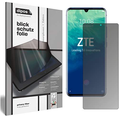 dipos I Blickschutzfolie matt kompatibel mit ZTE Axon 10 Pro 5G Sichtschutz-Folie Bildschirm-Schutzfolie Privacy-Filter (bewusst Kleiner als das Glas, da Dieses gewölbt ist)
