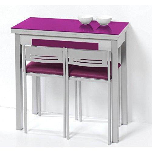 Mesa de cocina espacios pequeños con apertura de libro – tapa de cristal – disponible en varios colores